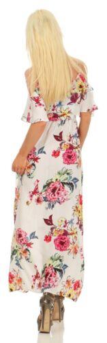 3832 Damen Maxikleid Sommerkleid Volants Langes Kleid Geblümt Partykleid