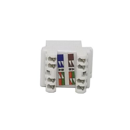 50 pack Keystone Jack Cat5e White Network Ethernet 110 Punchdown 8P8C 180 Degree