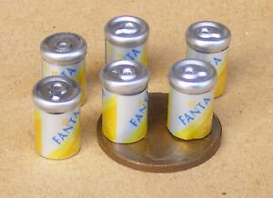 1:12 Scale 6 Empty Fanta Ring Pull Cans Tins Drink Tumdee Dolls House Accessory