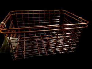 Image Is Loading PAIR OF ROSE GOLD DEEP WIRE BASKETS COUNTRY