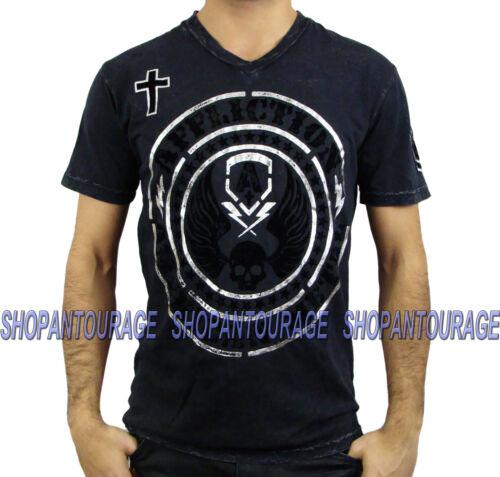 Tee A11251 noir Hellion shirt V Affliction Nouveau Homme col vOymN8n0w