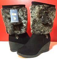 NEWB U.S. POLO ASSN. Noelle Black Zip Side Boots SZ 7.5-8 Wedge Fur Trim Shoes