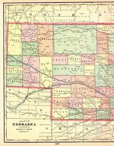 1905 Antique Nebraska State Map Crams Vintage Map Of Nebraska