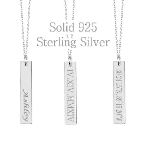 925 Sterling Silver Personalized Monogram Name Bar Necklace Custom Engraving