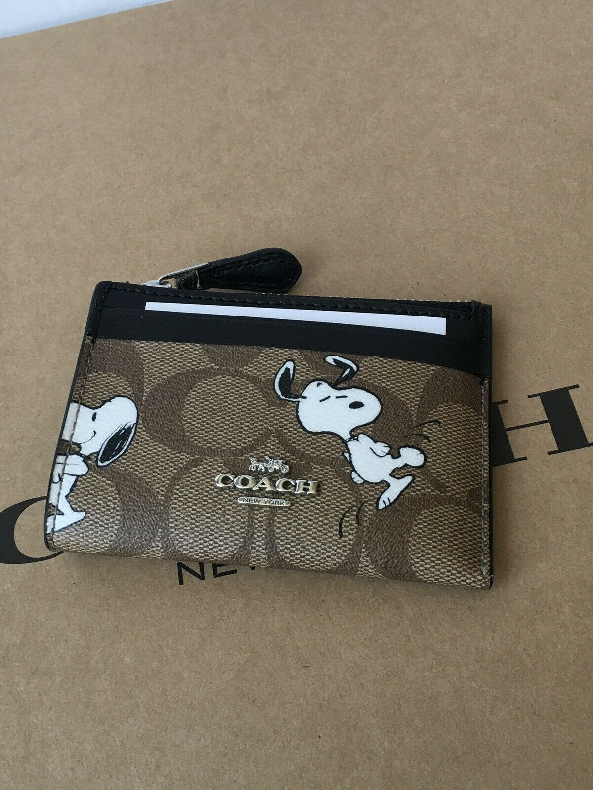 NWT C4593 Coach X Peanuts Mini Skinny ID Case in Signature Canvas with Snoopy