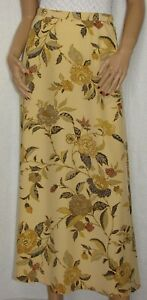 Ellen-Tracy-Company-Size-4-Long-Silk-A-Line-Skirt-Floral-on-Yellow