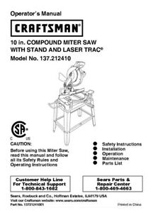 craftsman 137 212410 miter saw owners instruction manual ebay rh ebay com craftsman 10 miter saw owner's manual Craftsman 12 Miter Saw Manual