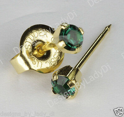"Ear Piercing Earrings Gold Mini 3mm Green May Birthstone ""Studex System 75"""