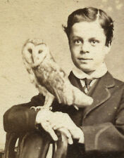 ANTIQUE CDV PHOTO OF BOY WITH OWL ~ORNITHOLOGY FALCONRY TAXIDERMY PETERBOROUGH
