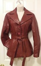 Stylish Women's Wilsons LEATHER Vintage Red Brown Coat Jacket, Sz 12