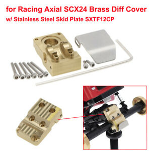 for Racing Axial SCX24 Brass Diff Cover with Stainless Steel Skid Plate SXTF12CP