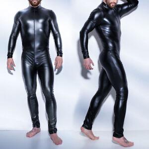Faux-Leather-Latex-Catsuits-Wet-Look-Zentai-Bodysuits-Zipper-Jumpsuit-for-Men