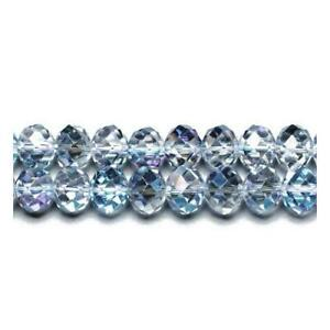 Pcs Crafts Czech Crystal Glass Faceted Rondelle Beads 9 x 12mm Clear//Silver 70