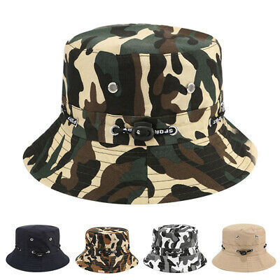 Boonie Bucket Hat Outdoor Hunting Fishing Military Wide Brim Cap Camo Men SunHat