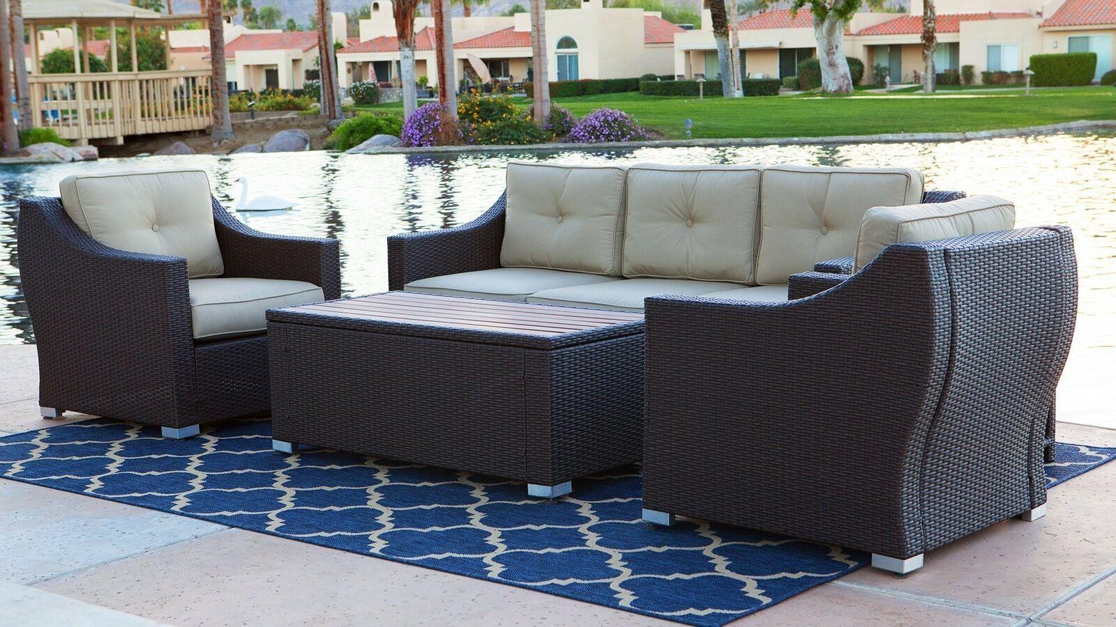 4 Piece White Wicker Patio Furniture