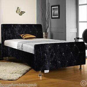 black upholstered sleigh bed. Image Is Loading Sterling-Black-Crushed-Velvet-Upholstered-Sleigh-Bed -Memory- Black Upholstered Sleigh Bed S