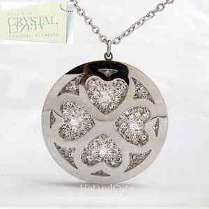 Valentine-Gift-Stainless-Steel-Sweater-Necklace-Heart-Pendant-Swarovski-Crystals