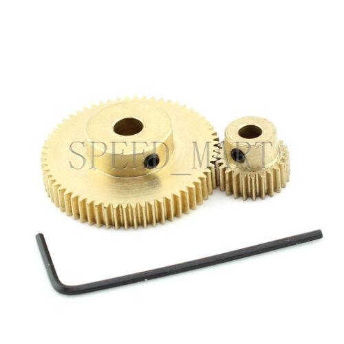0.5M60T-24T Module 0.5 Motor Metal Gear Wheel Set Kit Ratio 5:2 Wheelbase 21mm