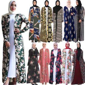 Dubai-Women-Chiffon-Print-Dress-Muslim-Floral-Robe-Jilbab-Islamic-Cardigan-Coat