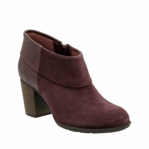 Clarks Enfield Canal Aubergine Suede ladies boots size 3 35.5 - 9 43 D