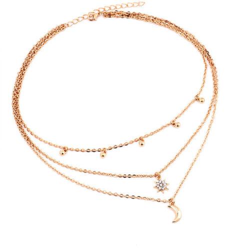 Women Fashion Rhinestone Star Moon Multi layer Pendant Jewelry Necklace Gift S