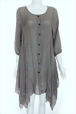URBAN SHIRT TUNIC PEASANT CASUAL CHIC COMFY BREEZE LOOSE FITTING GRAY TOP~ 3X