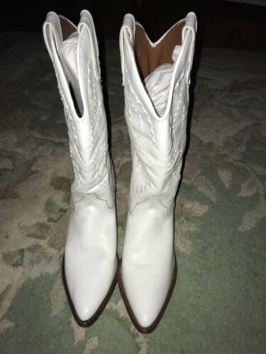 Womens White Leather Cowboy Boots 10