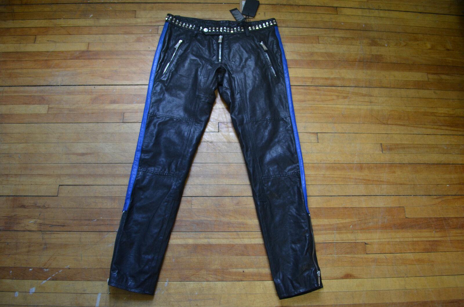 Dsquarot ² Toll Biker Rocker Blau Streifen Streifen Streifen Schwarzes Leder Benietet Hose 48 32 8dbdac