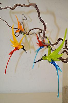 Glastier Glasvogel Kolibri aus Glas, hängend, echte Handarbeit,  NEU