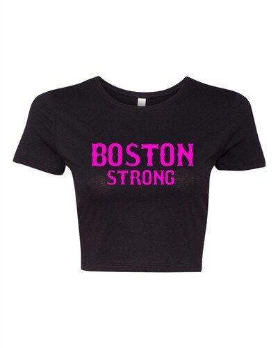 Crop Top Ladies Boston Strong Support Justice Skyline 617 Marathon T-Shirt Tee