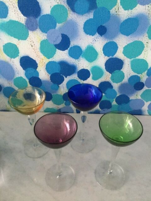 Midcentury Set of 4 Italian Vintage murano glass cordial goblets .lot 1 of 3
