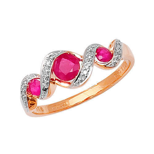 Ruby and Diamond Trilogy Ring Yellow gold Large Size R - Z Appraisal Certificate