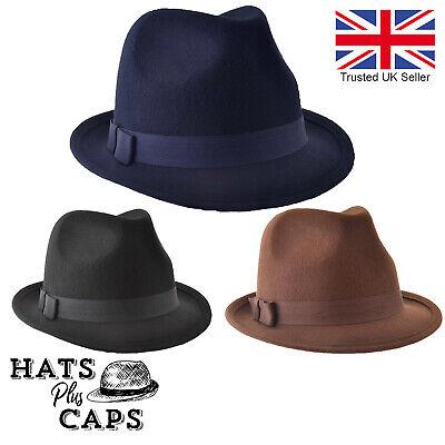 Black The Express Hats Quality Wool Felt Trilby Hat 57//Medium