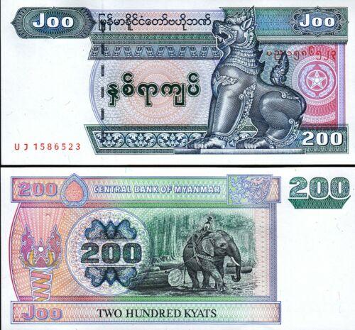 UNC Burma Myanmar 200 Kyats 2004 P-78