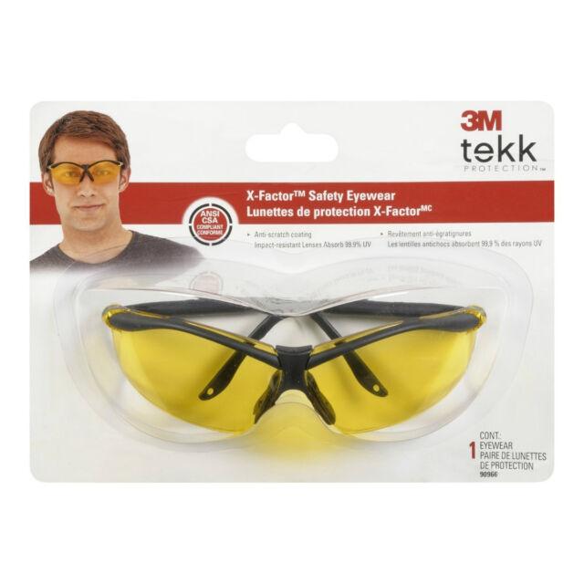 3M 90966-WV12 Tekk Protection Semi-Rimless Safety Eyewear, Yellow Anti-Scratch