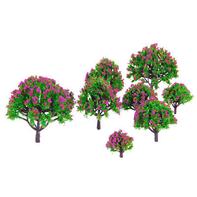 10pc Layout Model Trees 1:200 Scale w// Flower Building Garden Accessories #5