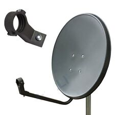 SATELLITE DISH ANTENNA 80CM + UNIVERSAL TWIN LNB ASTRA STAINLESS STEEL GREY