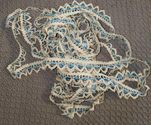 Yardage Vintage Blue and Off-White Lace Trim 6 Yards
