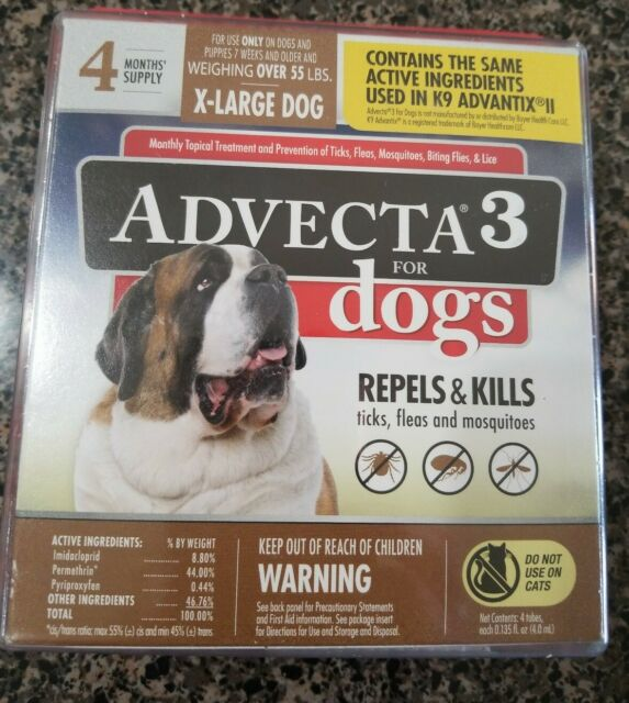 (New) Advecta 3 Flea & Tick Topical Treatment  X-large Dog over 55 lbs