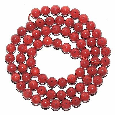 """3MM-4MM RED CORAL GEMSTONE RED FACETED ROUND PEBBLE 3MM-4MM LOOSE BEADS 16/"""""""
