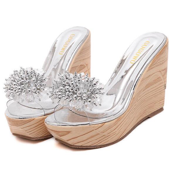 Sandali eleganti sabot zeppa ciabatte 8 plata comodi  pelle sintetica 9807