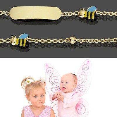 Baby Taufe Armband Mit Bunter Biene Echt Gold 333 Mit Gravur Von Name Und Datum