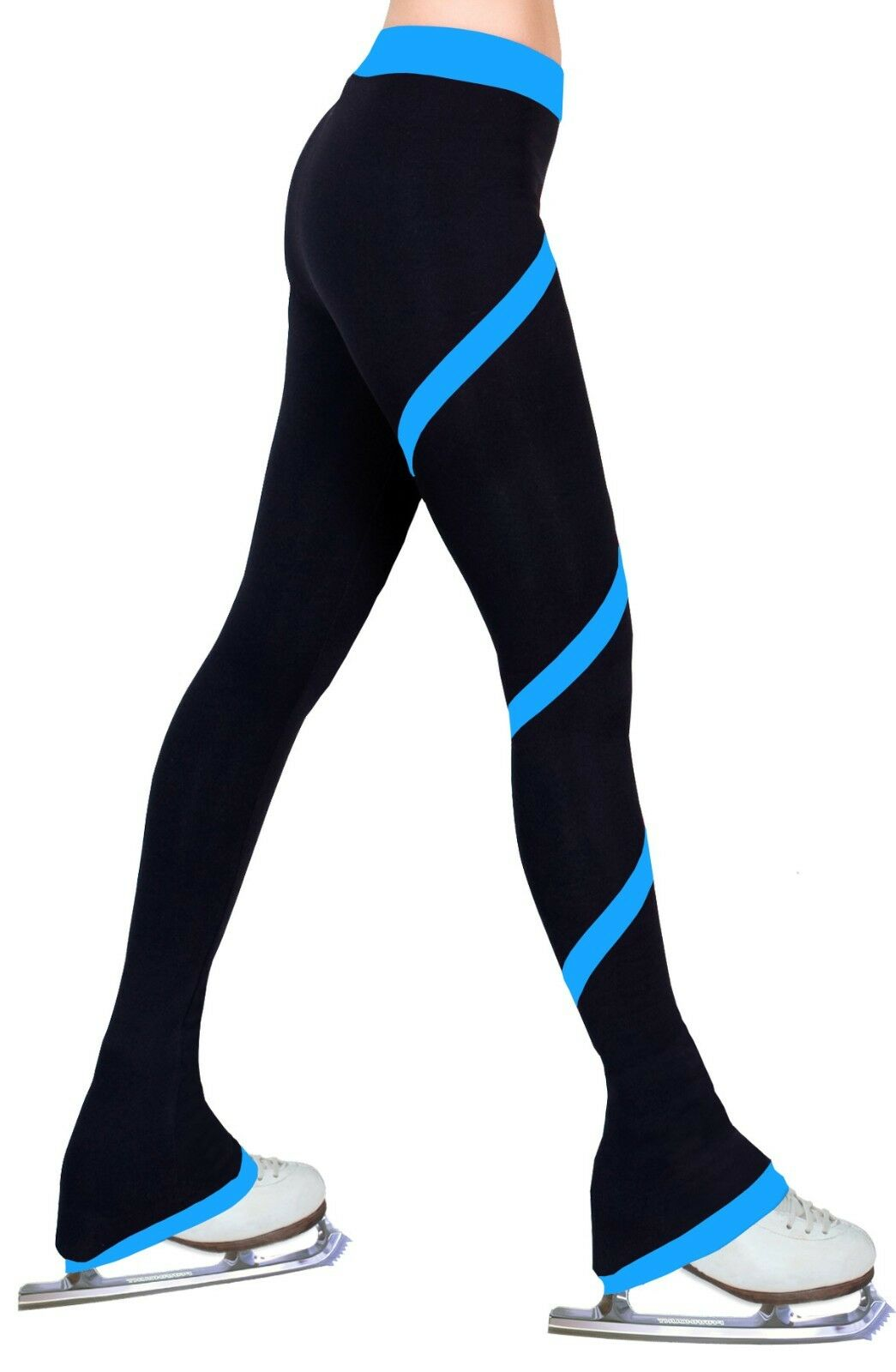 Ice Figure Skating Practice Polar Fleece Spiral Trousers Pants - Deep Sky bluee