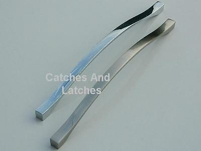 Bow Handles Kitchen Cabinet Doors or Drawers Pol Chrome or Satin Nickel 2 Sizes