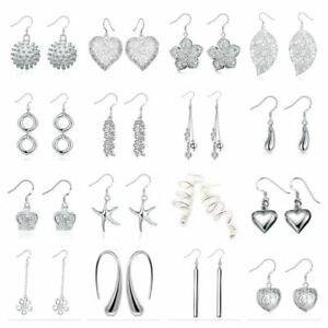 UK-Shop-925-STERLING-SILVER-PLT-LONG-DROP-DANGLE-HANGING-HOOK-EARRINGS-LARGE