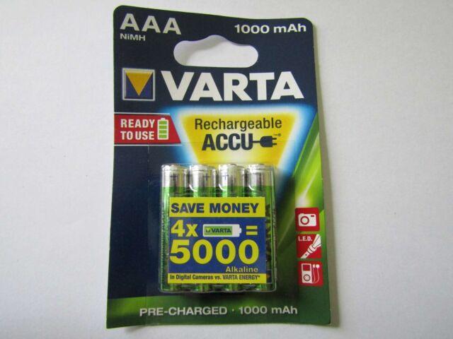 4x AAA 1000mAh Battery Nickel-Hydrid HR03 varta AR1483