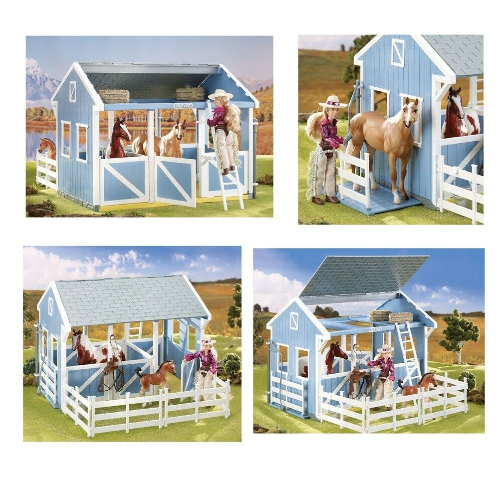 Breyer Classics Country Stable with Wash Stall bluee Stables with Waschbox