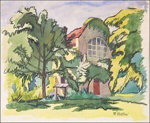 MATEO-CRISTIANI-1890-FRANKFURT-1962-VILLA-IM-GRUNEN-Jugendstil-46-x-56-cm