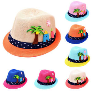 Sweet 1-6Y Infant Baby Girl Kids Summer Beach Floral Flower Straw Visor Sun Hats