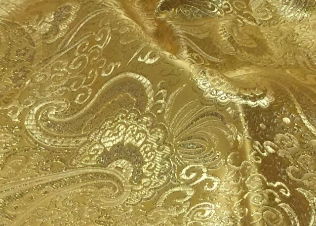 "YELLOW GOLD PAISLEY METALLIC BROCADE FABRIC 60"" WIDE 1 YARD"